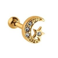Gold Plated Jeweled Crescent & Star Tragus Barbell - Crystal