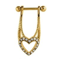 Gold Plated Jeweled Helix Shield - Crystal Heart