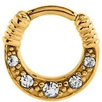 Gold Plated Jeweled Hinged Clicker Ring - Crystal