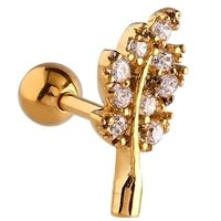 Gold Plated Jeweled Leaf Tragus Barbell - Crystal