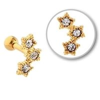 Gold Plated Jeweled Tragus Barbell - 3 Stars