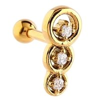 Gold Plated Jeweled Tragus Barbell - Crystal