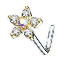 Gold Plated Jewelled Flower L Bend Nose Piercing - Clear AB