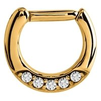 Gold Plated Jeweled Hinged Septum Clicker Ring - Crystal
