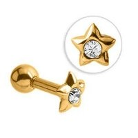 Gold Plated Jewelled Star Tragus Barbell - Crystal