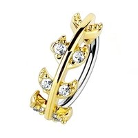 Gold Plated Jewelled Vine Nose Ring - Clear