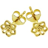 Gold Plated Silver Flower Ear Stud