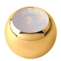 Gold Plated Synthetic Opal Jeweled Ball - White