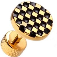 Gold Plated Tragus Barbell - Chequered Button