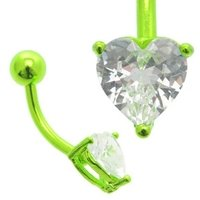 Green Anodized Titanium Jeweled Heart Belly Ring