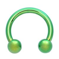 Green Titanium Horseshoe Barbell