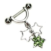 Helix Piercing Shield - Green Star Charms