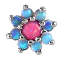 Internally Threaded Opal Jeweled Flower Attachment - Light Blue & Pink