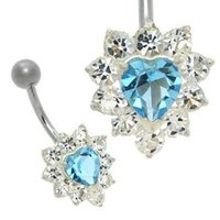 Jeweled Heart Belly Ring - Aqua