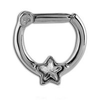 Jeweled Hinged Septum Clicker Ring - Crystal Star