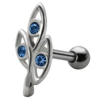 Jeweled Silver and Steel Tragus Stud - Blue Ovals