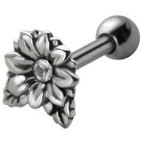 Jeweled Silver and Steel Tragus Stud - Clear Flower