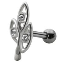 Jeweled Silver and Steel Tragus Stud - Clear Ovals