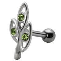 Jeweled  Silver and Steel Tragus Stud - Green Ovals