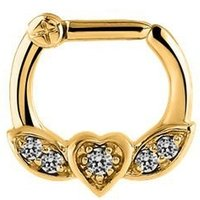 Jeweled Winged Heart Septum Clicker Ring - Crystal