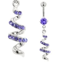 Jeweled Belly Button Dangle (Purple Twist)