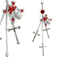 Jeweled Belly Button Dangle (Red Skull & Cross)