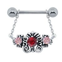 Jewelled Charm Nipple Bar - Pink & Red