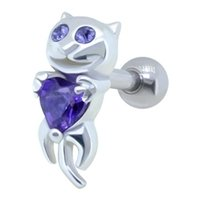 Jeweled Ear Piercing Bar - Purple Cat