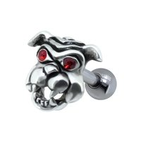 Jeweled Ear Piercing Bar - Red Bulldog