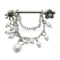 Jeweled Flower Nipple Shield with Pearl Bead Dangles