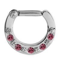 Jewelled Hinged Septum Clicker Ring - Pink