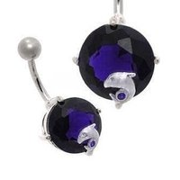 Large Jewel Silver and Steel Belly Ring - Purple Dolphin