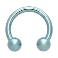Light Blue Titanium Horseshoe Barbell