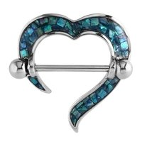 Mother Of Pearl Nipple Shield - Heart Mosaic Blue Zircon