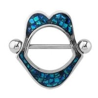 Mother Of Pearl Nipple Shield - Lip Mosaic Blue Zircon