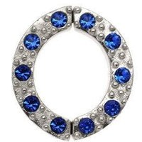 Non Piercing Sterling Silver Nipple Clamp - Blue Jeweled