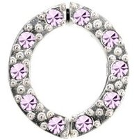 Non Piercing Sterling Silver Nipple Clamp - Lilac Jeweled
