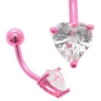 Pink Anodized Titanium Jeweled Heart Belly Ring