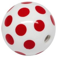 PMMA Acrylic Threaded Polka Dot Ball - Red and White