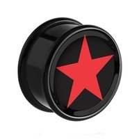 PMMA Ikon flesh plug- Ikon Plug Black and Red Star