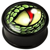 PMMA Ikon flesh plug - Ikon Plug Green Lizard Eye