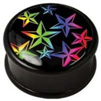 PMMA Ikon flesh plug - Rainbow Nautical Stars