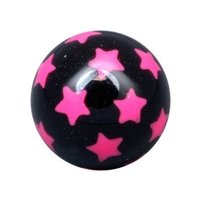 PMMA Threaded Ball - Black with Pink Stars