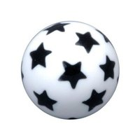 PMMA Threaded Ball - White with Black Stars