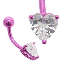 Purple Anodized Titanium Jeweled Heart Belly Ring