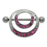 Romantic Double Jeweled Hoop Nipple Shield - Pink