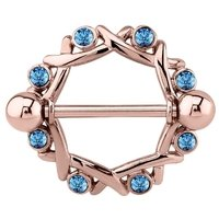 Rose Gold Aqua Jeweled Nipple Shield