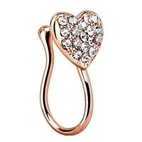 Rose Gold Crystal Heart Nose Clip