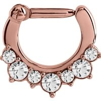 Rose Gold Crystal Jeweled Hinged Clicker Ring