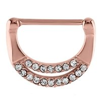 Rose Gold Crystal Jeweled Nipple Clicker Ring